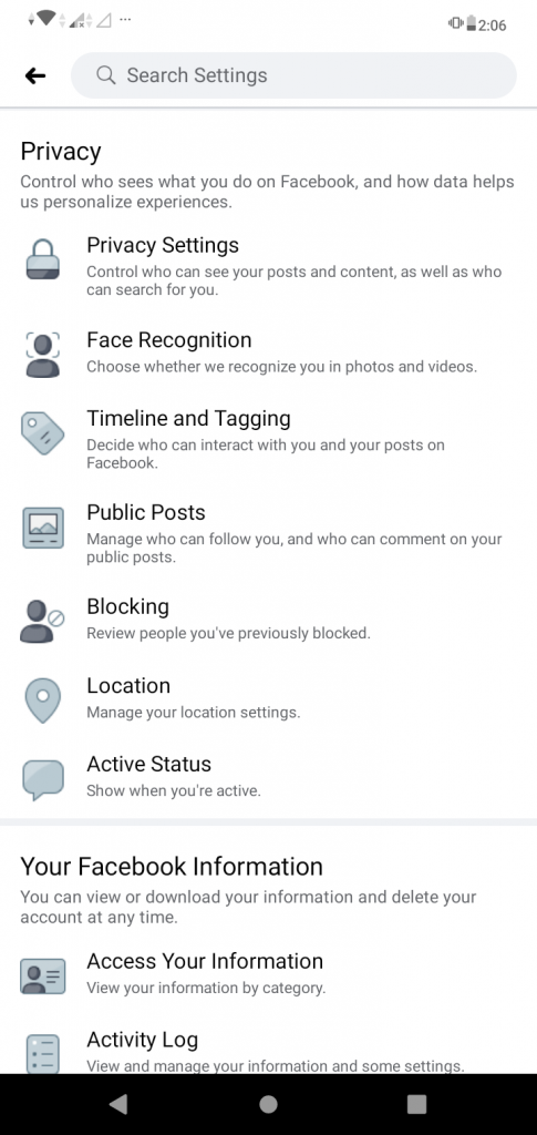 """A screenshot of the """"Settings"""" page on the Facebook app. This photo is for the """"How to Hide Friends in Facebook"""" blog in TechToGraphy."""