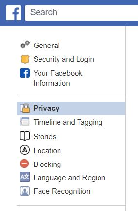 """A screenshot from Classic Facebook, highlighting """"Privacy."""" This photo is for the """"How to Hide Friends in Facebook"""" blog in TechToGraphy."""