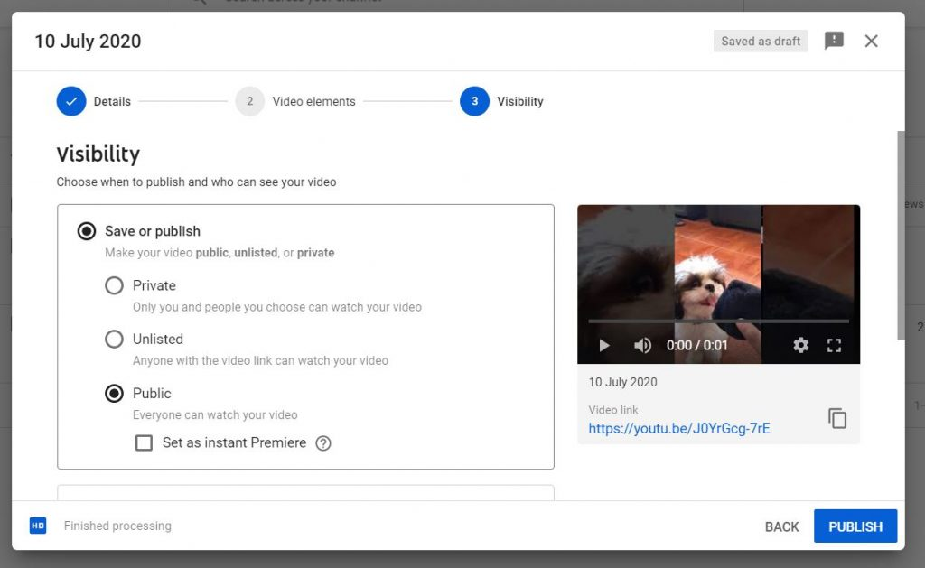 A screenshot of the Visibility setting at YouTube Studio.