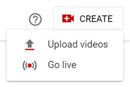 """A screenshot of CREATE, Upload Videos, and Go live icons of YouTube. This photo is for the """"How to Upload Videos on YouTube?"""" blog post of TechToGraphy."""
