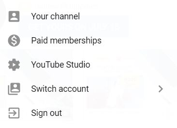 """A screenshot from YouTube that shows five different icons. This photo is for the """"How to Upload Videos on YouTube?"""" blog post of TechToGraphy."""