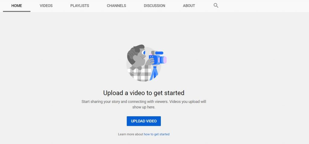"""A screenshot of UPLOAD VIDEOS icon of YouTube on the YouTube website. This photo is for the """"How to Upload Videos on YouTube?"""" blog post of TechToGraphy."""