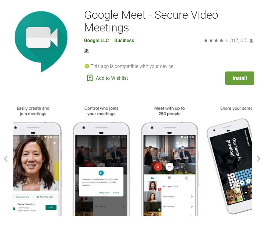 """A screenshot of the Google Meet Google Play app for the """"How to Use Google Meet on Your Computer, Phone, or Tablet"""" blog post in the TechToGraphy website.  It has the logo of Google Meet in the upper left corner."""