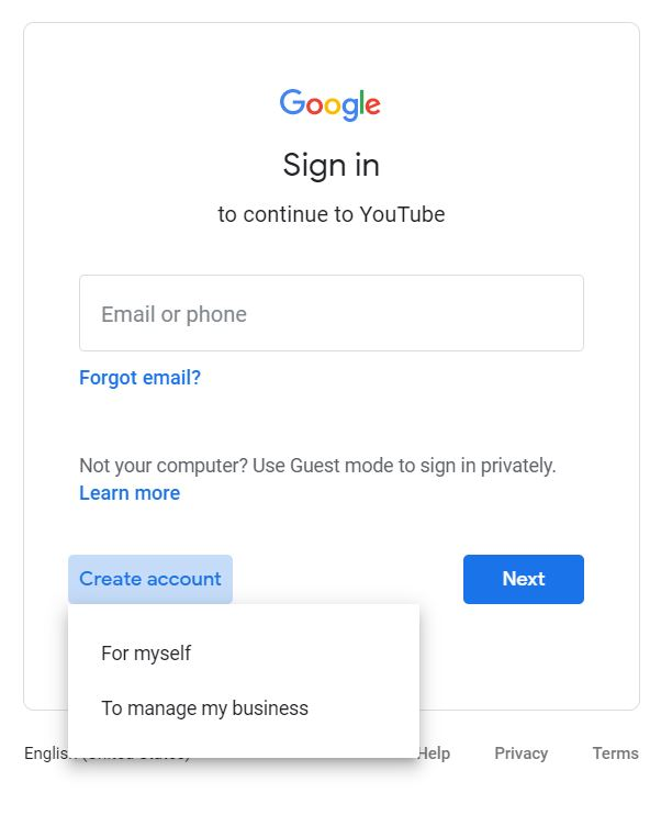 "A screenshot from the Google Sign In page taken for the ""How to YouTube: An Extensive Guide for Starters"" blog post in TechToGraphy. The photo has the word ""Sign In"" in spotlight."