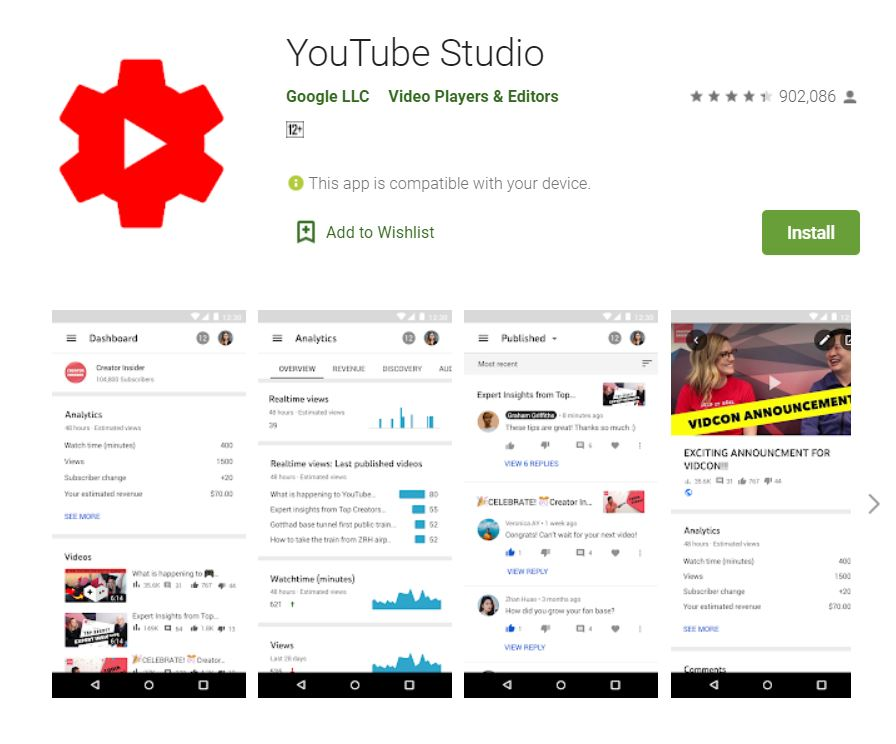 "A screenshot from Google Play taken for the ""How to YouTube: An Extensive Guide for Starters"" blog post in TechToGraphy. The photo has the logo of YouTube Studio App."