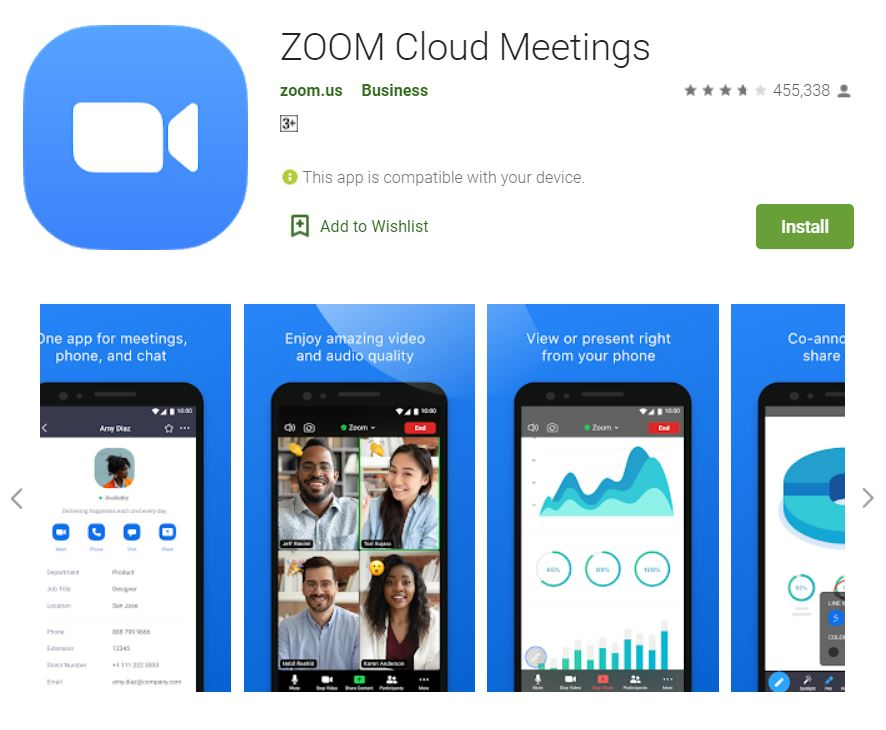 """A screenshot of the ZOOM Cloud Meetings app from Google Play. It has the logo of zoom at the upper left corner of the screen and collage images of phones, displaying Zoom features below. This photo is for the """"How to Use Zoom"""" blog of TechToGraphy."""