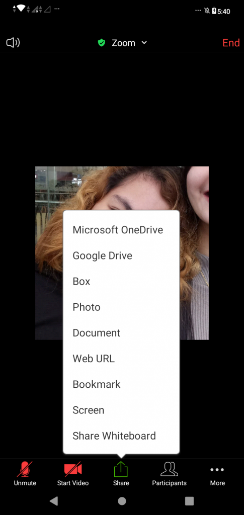 """A screenshot from the Zoom Cloud Meetings app showing options from the """"Share"""" feature. This photo is for the """"How to Use Zoom"""" blog of TechToGraphy."""