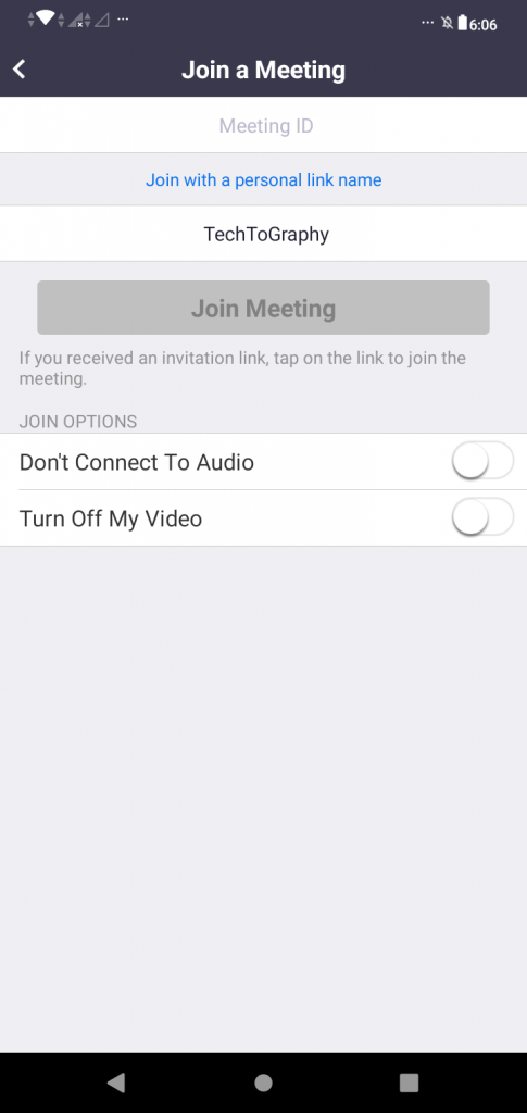 """A screenshot of the """"Join a Meeting"""" page from the Zoom Cloud Meetings app. The name """"TechToGraphy"""" can be seen. This photo is for the """"How to Use Zoom"""" blog of TechToGraphy."""
