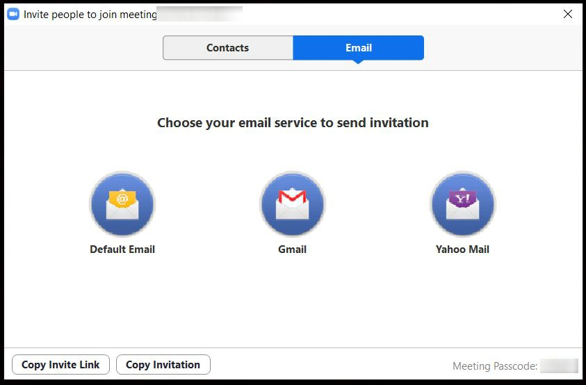"""A screenshot from the Zoom Cloud Meetings app on computer which contains icons fro Default Email, Gmail, and Yahoo Mail. The icons for the Copy Invinte Link and Copy Invitation are also in the  picture. This photo is for the """"How to Use Zoom"""" blog of TechToGraphy."""