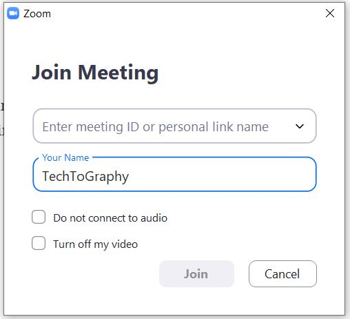 """A screenshot of the """"Join a Meeting"""" page from the Zoom Cloud Meetings app on computer. This photo is for the """"How to Use Zoom"""" blog of TechToGraphy."""