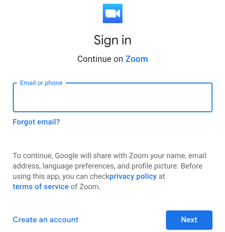 """A screenshot of the Google account """"Sign In"""" page from the Zoom Clod Meetings app. This photo is for the """"How to Use Zoom"""" blog of TechToGraphy."""