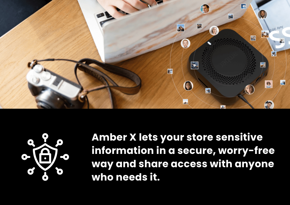 A photo which features Amber X: The Privacy-First Smart Personal Cloud, a camera, and a laptop