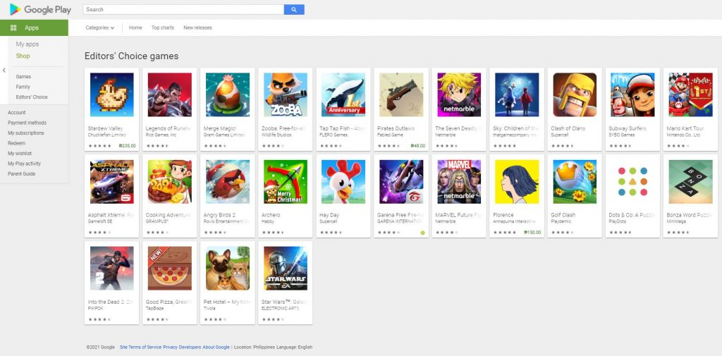 There are twenty-six Editors Choice Games featured in this photo. It is a screenshot taken this January 2021 from Google Play.