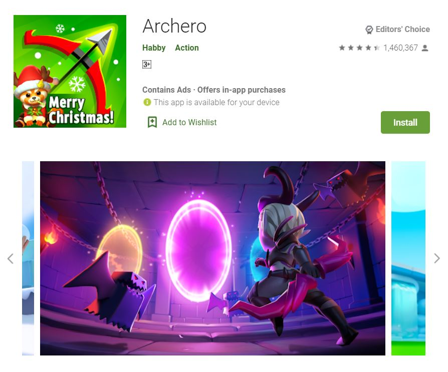 This screenshot features the mobile game Archero, one of the Editors Choice Games in Google Play.