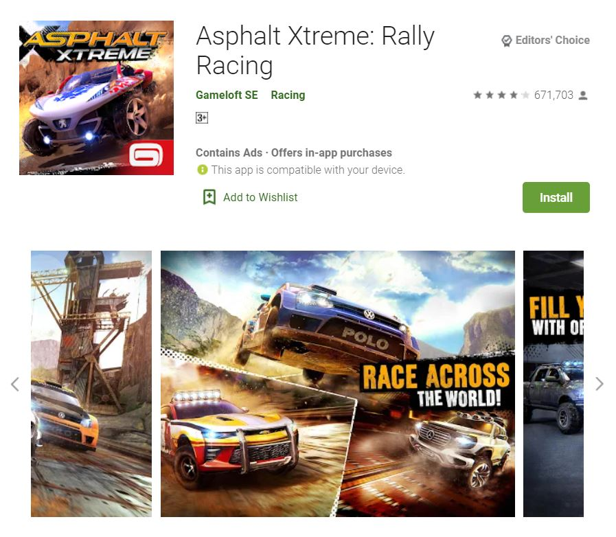 This screenshot features the mobile game Asphalt Xtreme: Rally Racing, one of the Editors Choice Games in Google Play.