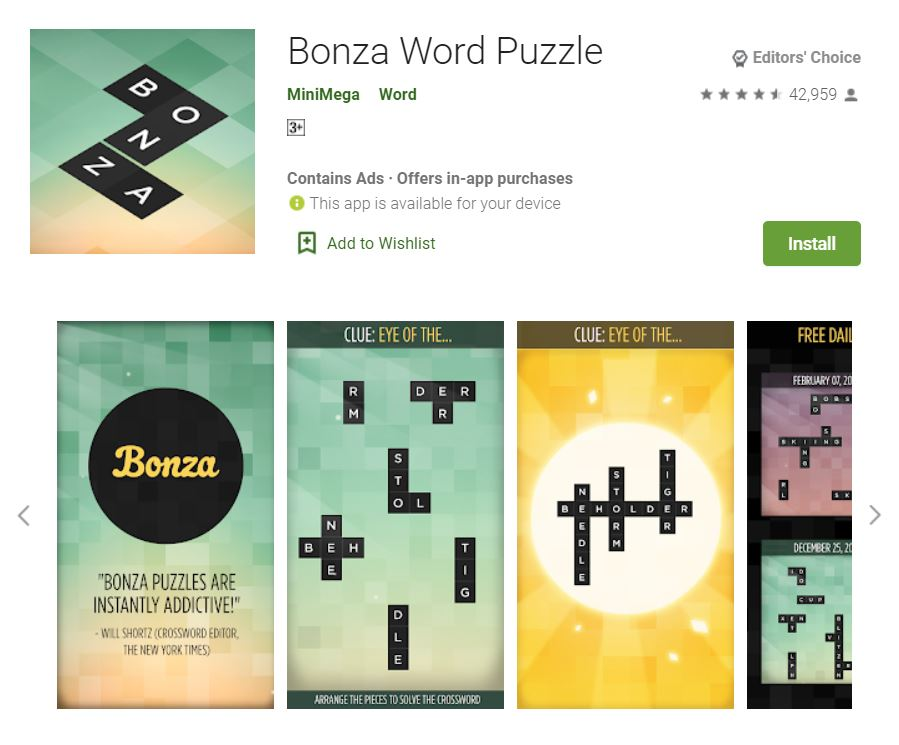 This screenshot features the mobile game Bonza Word Puzzle, one of the Editors Choice Games in Google Play.