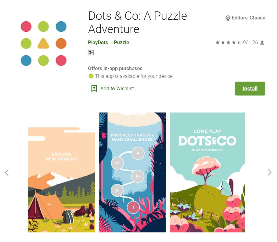 This screenshot features the mobile game Dots & Co: A Puzzle Adventure, one of the Editors Choice Games in Google Play.