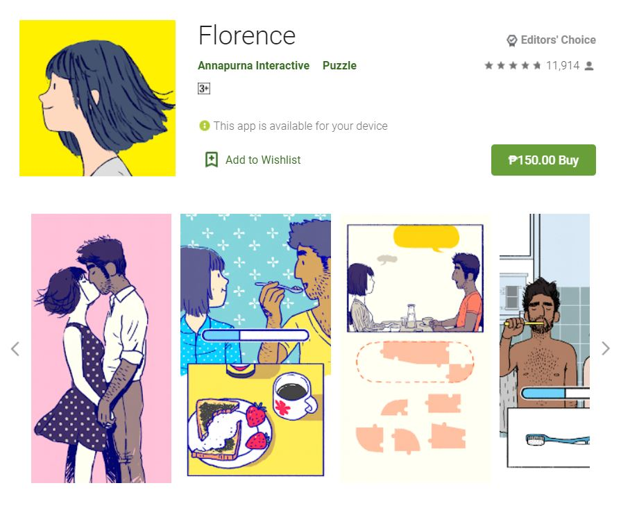 This screenshot features the mobile game Florence, one of the Editors Choice Games in Google Play.