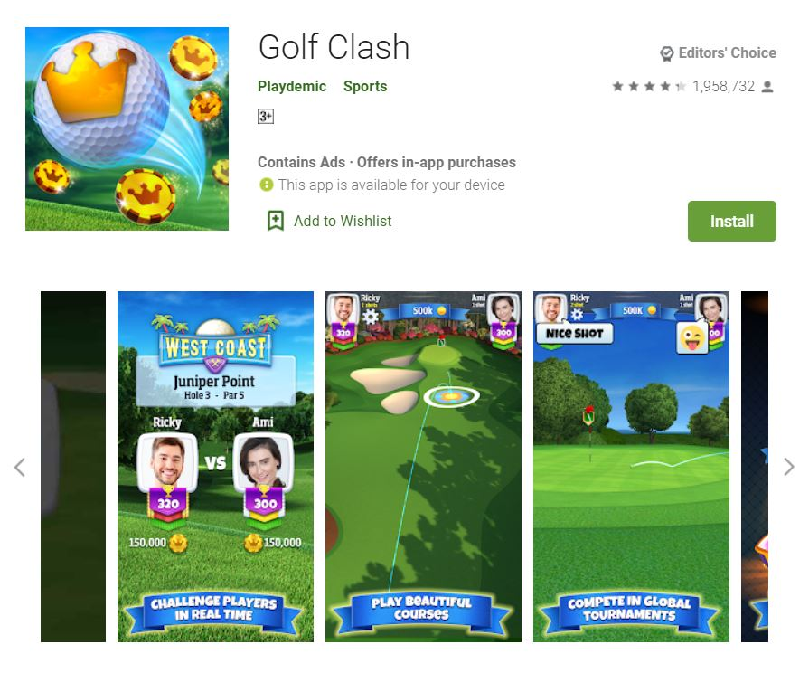 This screenshot features the mobile game Golf Clash, one of the Editors Choice Games in Google Play.