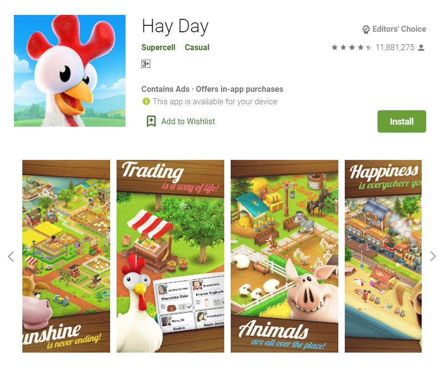 This screenshot features the mobile game Hay Day, one of the Editors Choice Games in Google Play.