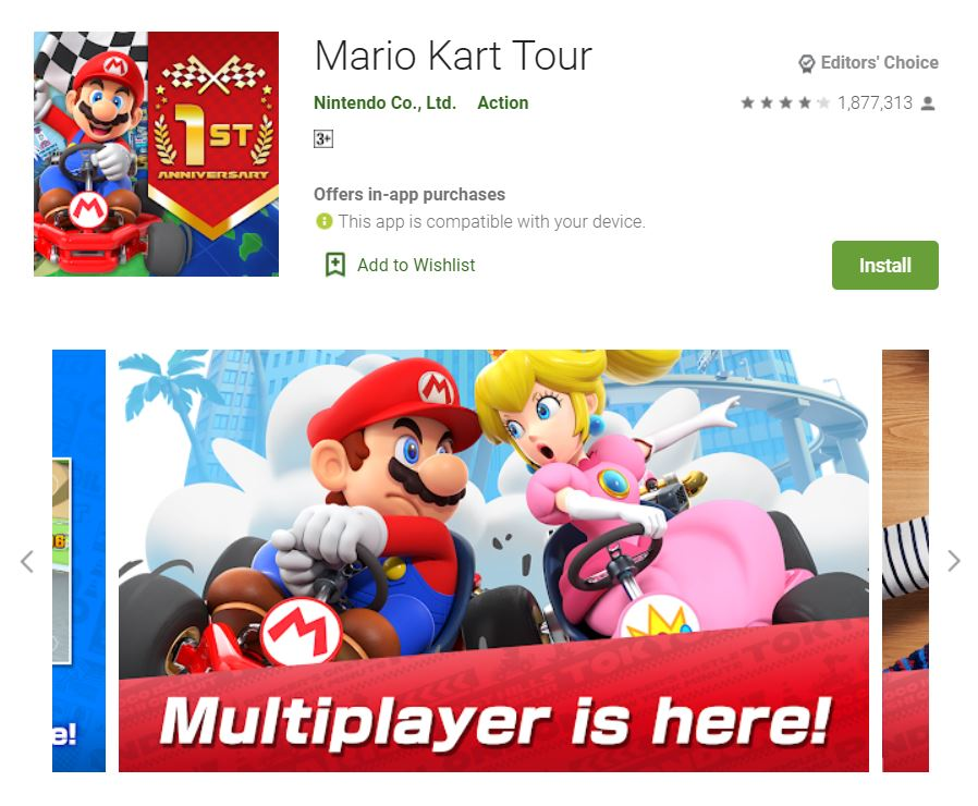 This screenshot features the mobile game Mario Kart Tour, one of the Editors Choice Games in Google Play.