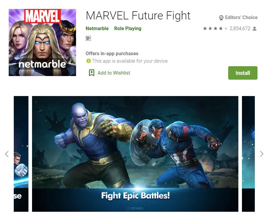 This screenshot features the mobile game MARVEL Future Fight, one of the Editors Choice Games in Google Play.