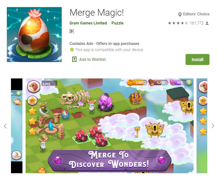 This screenshot featured the mobile game Merge Magic!, one of the Editors Choice Games in Google Play.