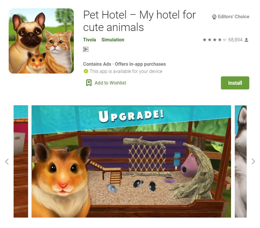 This screenshot features the mobile game Pet Hotel – My hotel for cute animals, one of the Editors Choice Games in Google Play.