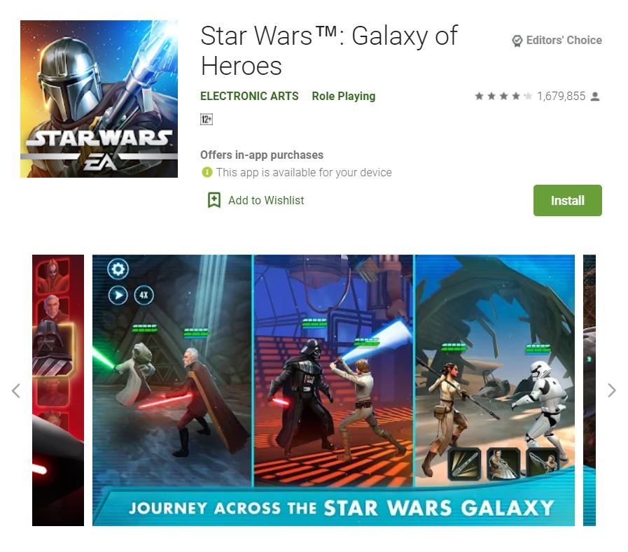 This screenshot features the mobile game Star Wars: Galaxy of Heroes, one of the Editors Choice Games in Google Play.