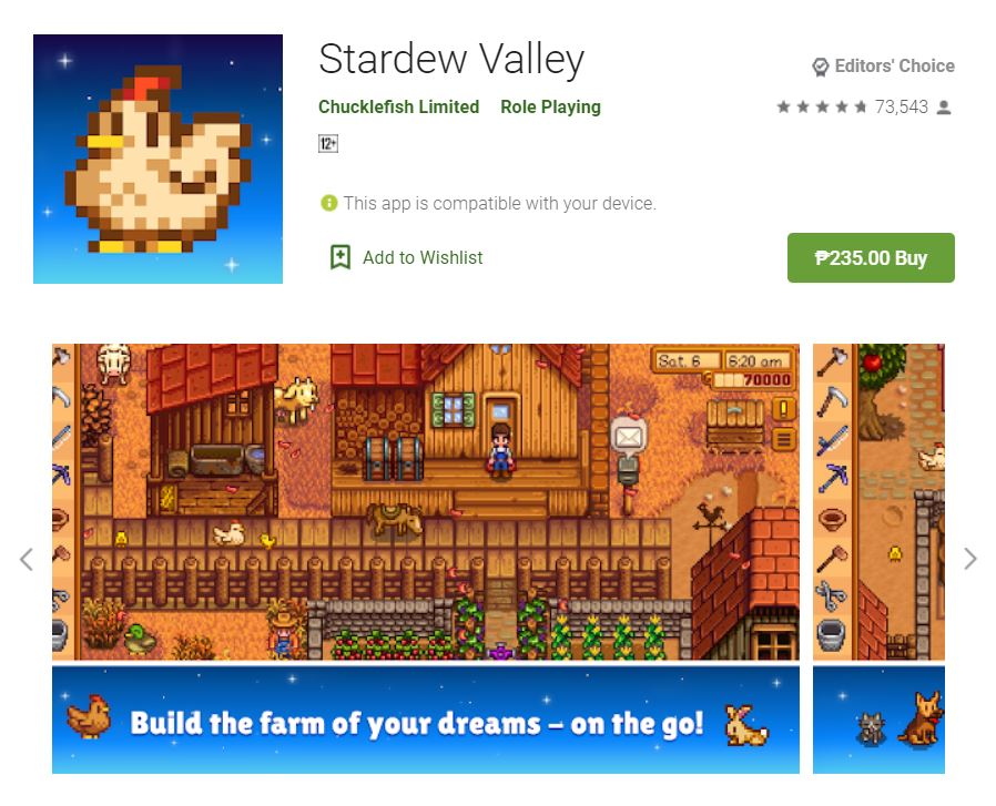 This screenshot featured the mobile game Stardew Valley, one of the Editors Choice Games in Google Play.