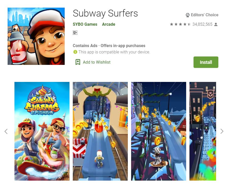 This screenshot features the mobile game Subway Surfers, one of the Editors Choice Games in Google Play.